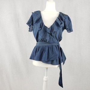 Gap silk flutter sleeve wrap blouse Size M